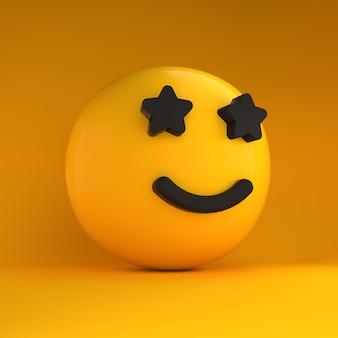 Emoji 3d z oczami w kształcie gwiazdek