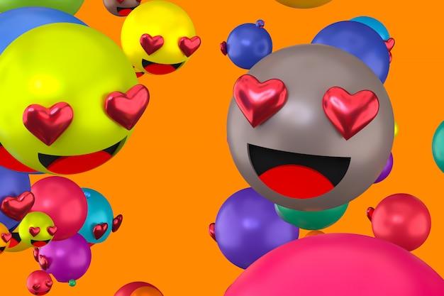 Emoji facebooka reagują na serce