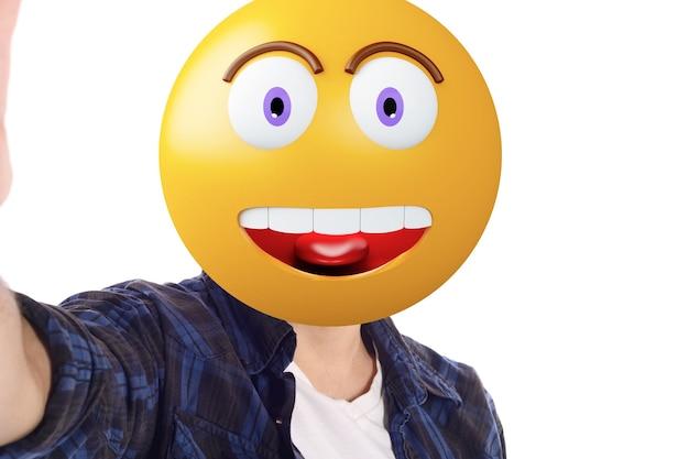 Emoji głowa człowiek biorąc selfie.