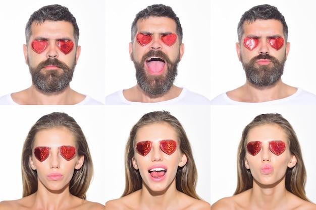Emoji zestaw kobiety i brodaty mężczyzna z sercami na oczach kolaż emocji różnych emocji