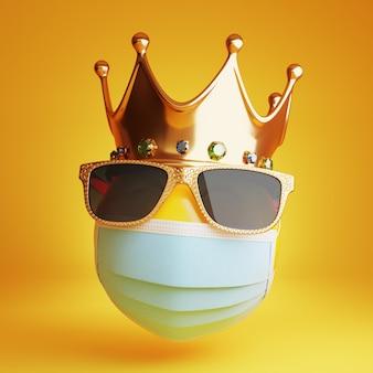 Emotikona z maską medyczną, okularami przeciwsłonecznymi i królewską koroną 3d