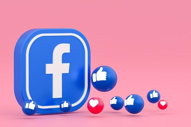 Emotikony reakcji na facebooku, symbol balonu mediów społecznościowych z wzorem ikon na facebooku