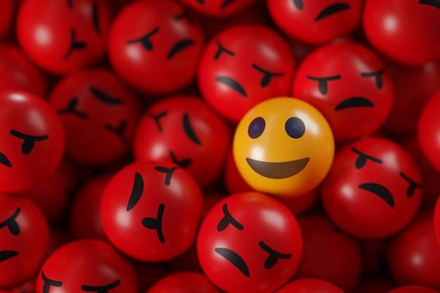 Emotikony uśmiech między garstką gniewnych emotikonów