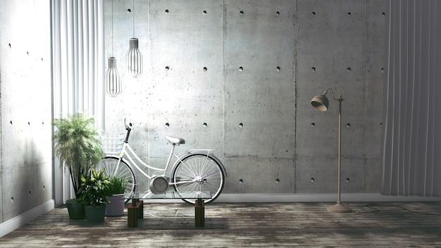Empty - living room loft style interior design. renderowanie 3d