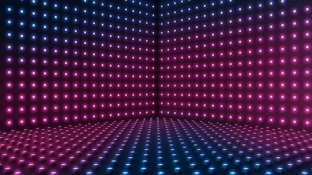 Emptyroom, labstract oświetlenie niebieskie i fioletowe kropki tło.