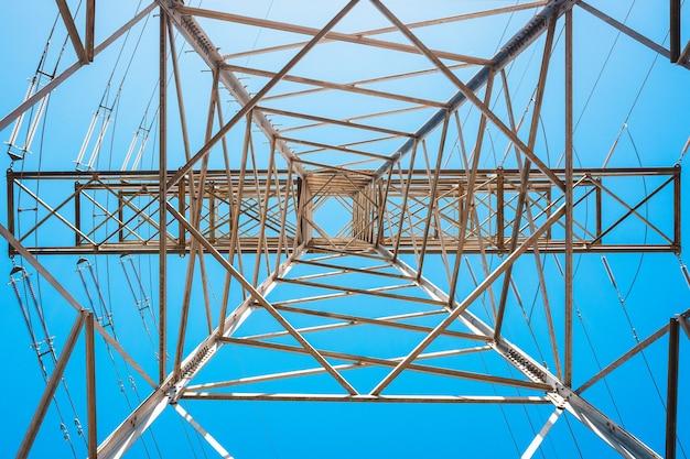 Energia elektryczna jest transportowana grubymi kablami przymocowanymi do metalowych wież.