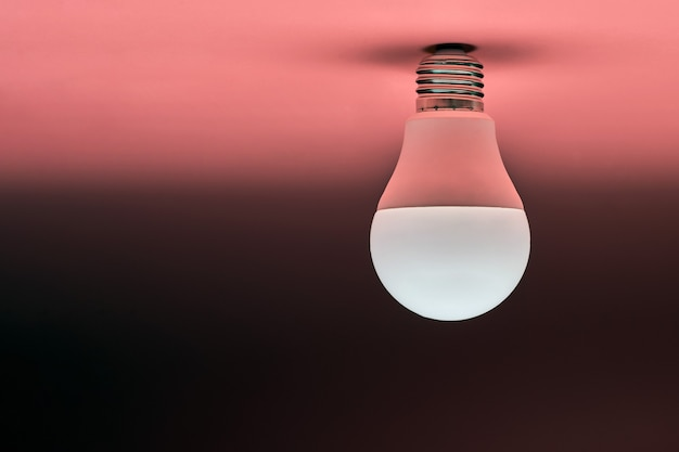 Energooszczędna żarówka, miejsce na kopię, różowe tło. minimalna koncepcja pomysłu.