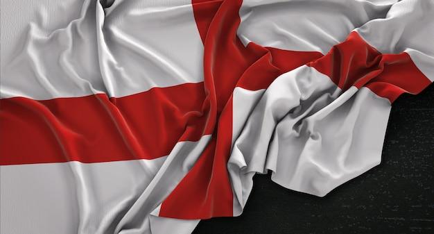 England flag zgnieciony na ciemnym tle renderowania 3d