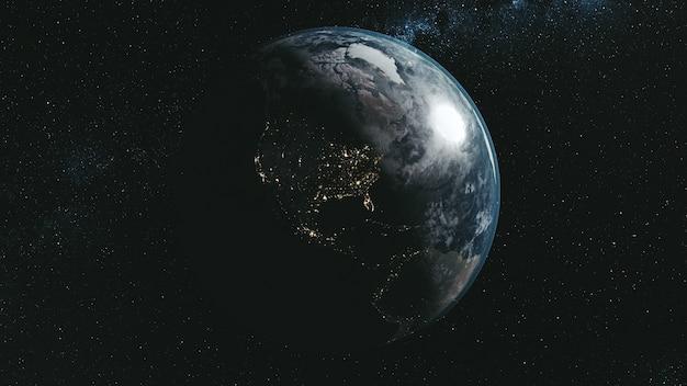 Epicki obrót planeta ziemia galaxy nocny widok satelitarny