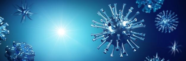 Epidemia koronawirusa, mikroskopijny widok komórek wirusa grypy. ilustracja 3d