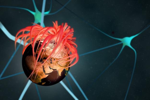 Epidemia wirusa koronowego 2019, covid19 grypa z globalną koncepcją infekcji, ten obraz wykończony przez nasa, renderowanie ilustracji 3d