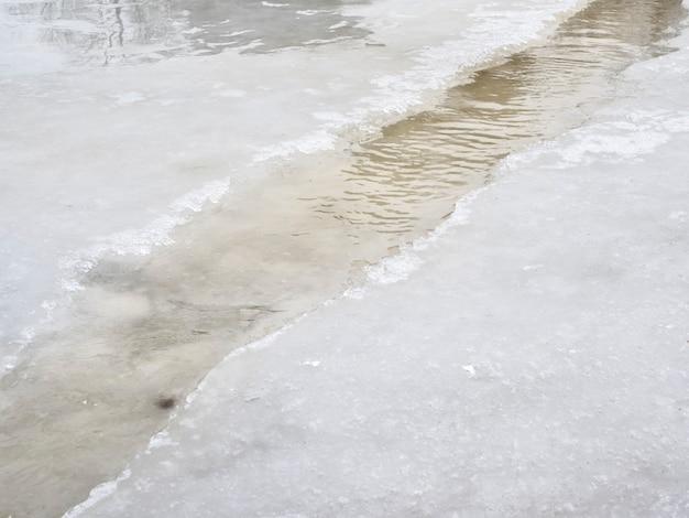 Erozja wód powodziowych. strumień wiosny. śnieg zmywany przez strumień.