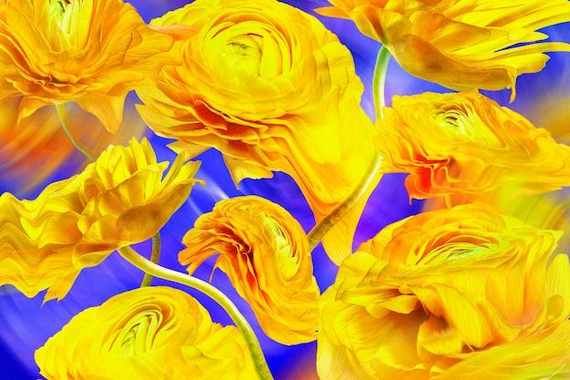 Estetyczna tapeta w tle, żółty kwiat trippy abstrakcyjny wzór