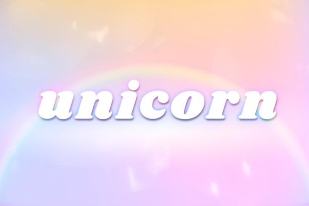 Estetyczna typografia jednorożca w kolorowej świecącej tęczowej czcionce