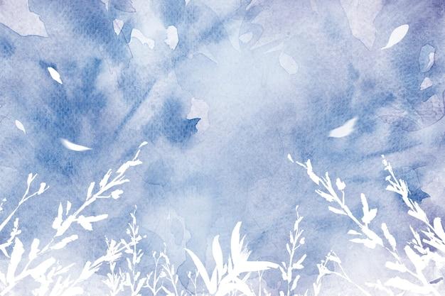 Estetyczne tło akwarela liści w fioletowym sezonie zimowym