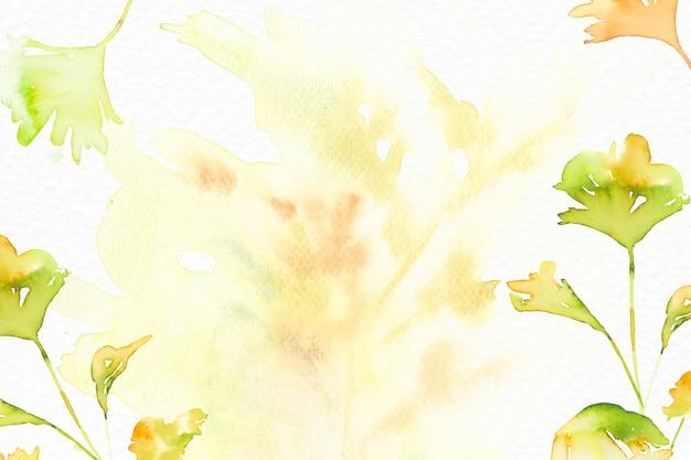 Estetyczne tło akwarela liści w zielonym sezonie jesiennym