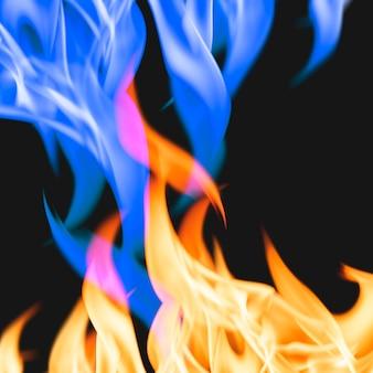 Estetyczne tło płomienia, płonący niebieski ogień