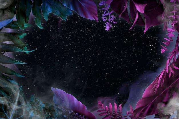 Estetyczne tło ramki liści, neonowy wzór botaniczny