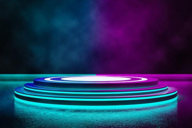 Etap koła z dymem i światłem neonowym