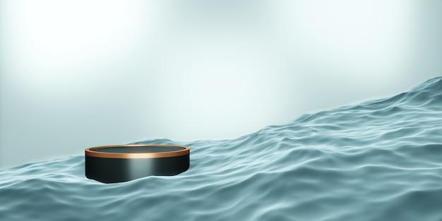 Etap podium produktu etap niebieski na ilustracji wody 3d