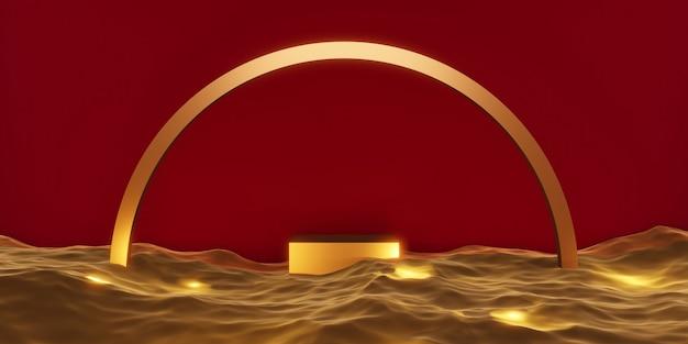 Etap produktu podium etap złota na ilustracji wody 3d