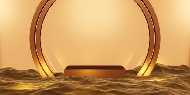 Etap produktu podium etap złoto na wodzie ilustracja 3d