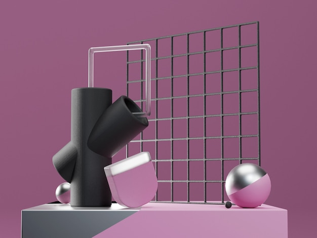 Etap Renderowania 3d Z Abstrakcyjnymi Kształtami Geometrycznymi W Kolorach Fioletowym, Czarnym I Srebrnym. Nowoczesne Nierealne Premium Zdjęcia