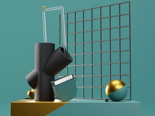 Etap renderowania 3d z abstrakcyjnymi kształtami geometrycznymi w kolorach niebieskim i złotym. nowoczesna, nierealna kompozycja w formacie