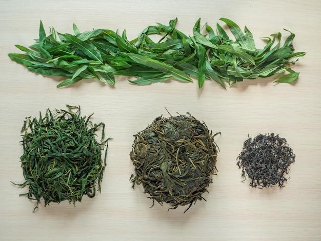 Etapy produkcji sfermentowanych liści herbaty. sfermentowana herbata ivan.