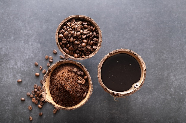 Etapy przygotowania czarnej kawy