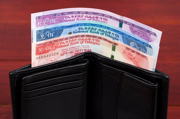 Etiopskie pieniądze w czarnym portfelu
