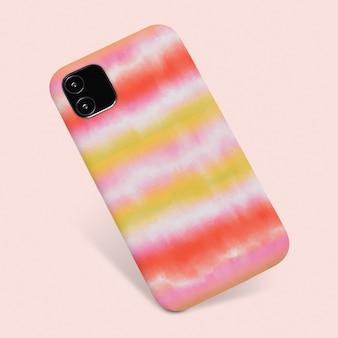 Etui na telefon w kolorowe paski z kolorowym krawatem