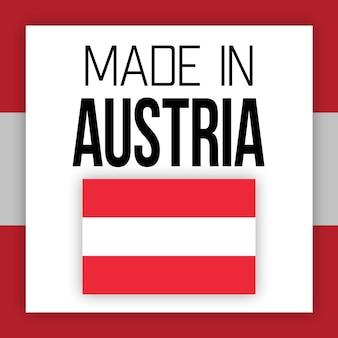 Etykieta made in austria, ilustracja z flagą narodową