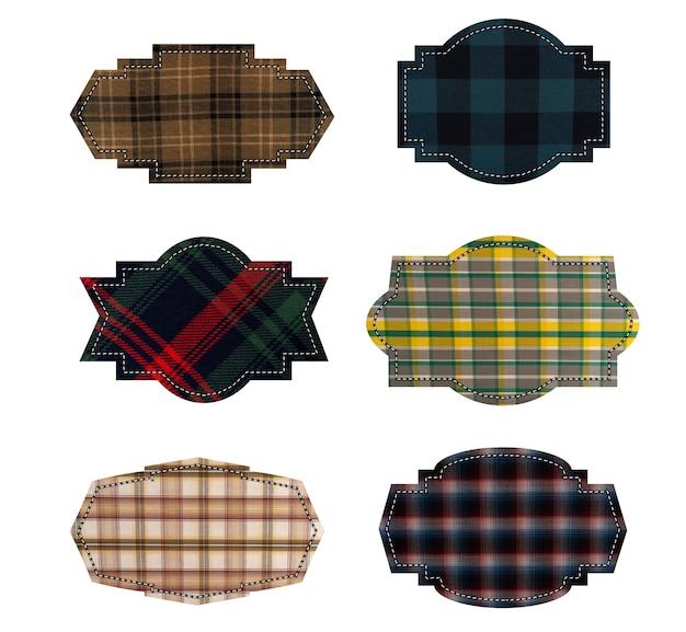 Etykiety tekstylne. etykiety tkaniny tekstury na białym tle