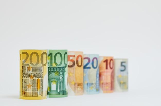 Euro pieniędzy banknotów tła tekstura