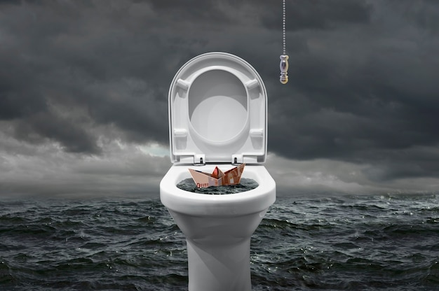Euro rachunek w kształcie łodzi, która ma zostać połknięta przez toaletę?