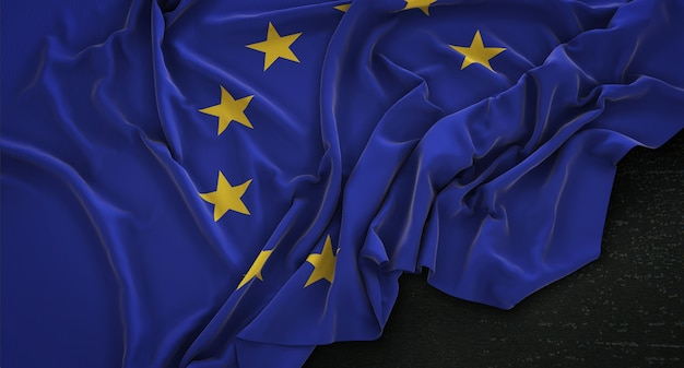 European flag zgnieciony na ciemnym tle renderowania 3d