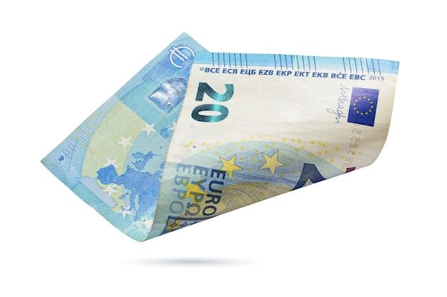 Europejski banknot dwadzieścia euro na białym tle