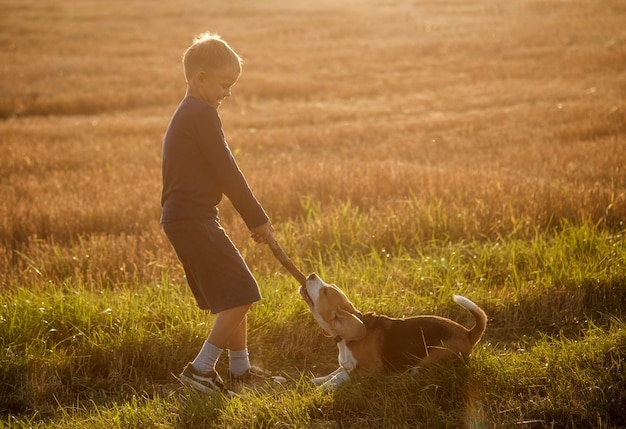 Europejski chłopiec bawi się z psem rasy beagle na spacerze w letni wieczór