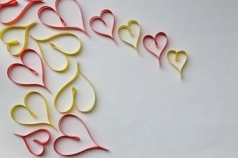 Faborki kształtujący jako serca valentines dnia pojęcie.