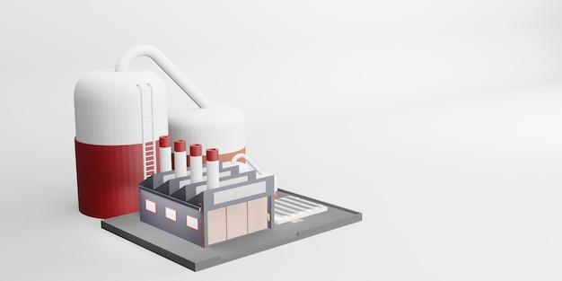 Fabryczny budynek przemysłowy projekt przemysłowy ilustracja 3d
