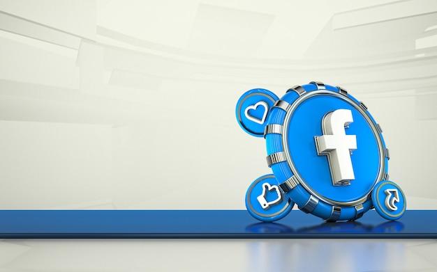 Facebook 3d renderowania ikona mediów społecznościowych izolowane tło