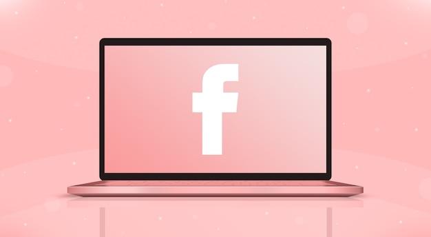 Facebook ikony logo na ekranie laptopa widok z przodu 3d