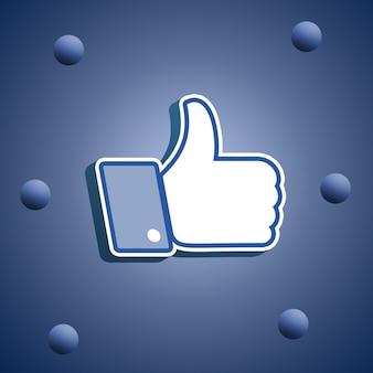 Facebook jak ikona, kciuki w górę 3d