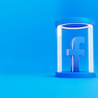 Facebook logo 3d na niebieskim tle stojaka szklanego