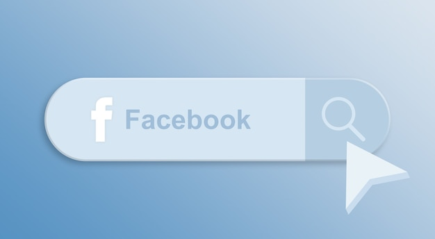 Facebook na pasku wyszukiwania z kursorem myszy 3d