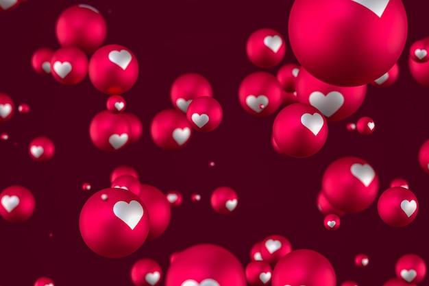 Facebooka reakcje serca emoji 3d render na czerwonym tle, symbol balon społecznościowy z sercem, karta happy valentines day