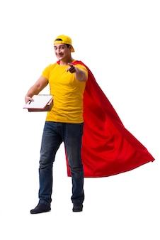 Facet dostawy pizzy super bohater na białym tle