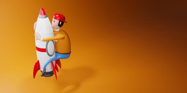Facet postać z kreskówek latający na ilustracji 3d rakiety.