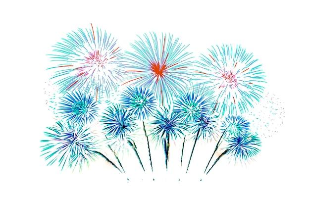 Fajerwerki na białym tle w święta bożego narodzenia i nowego roku